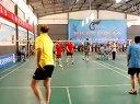 廊坊六运会羽毛球比赛东鹏组合与文安双打.