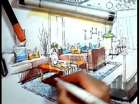 室内客厅成角透视马克笔手绘