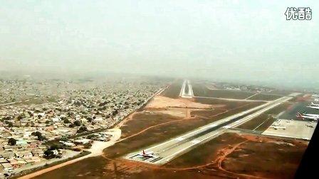 飞机驾驶舱视角:航班降落安哥拉罗安达国际机场过程