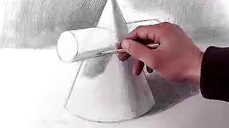 圆锥圆柱体素描 素描圆锥圆柱体步骤 圆锥圆柱体组合图形-圆柱组合图图片