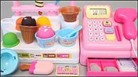 咩咩趣冰淇淋店開張啦超市收銀玩具和驚喜奇趣蛋玩具套裝開箱展示