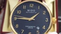MIDO美度貝倫賽麗茱比力系列手表 BARONCELLI機械表皮帶金色手表瑞士M8690.3.13.8