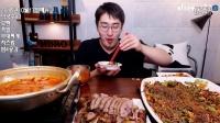 【韓國吃播】MBro(M大哥)吃大碗面條+部隊湯都吃完2016.10.26